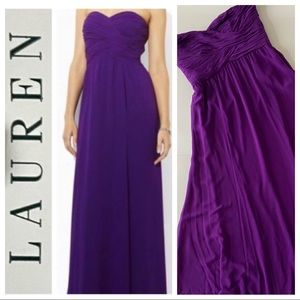 NWT 14 Strapless Purple Gown